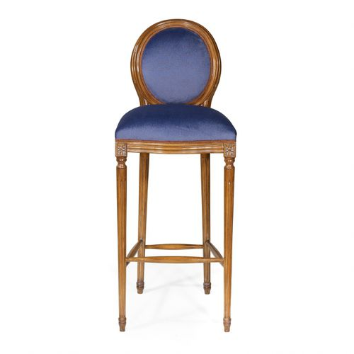 french style bar chair / upholstered / medallion / fabric