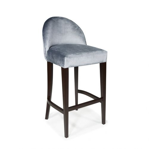 traditional bar chair / upholstered / fabric / oak