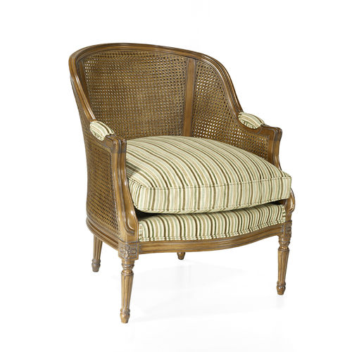 french style armchair / fabric / leather / oak