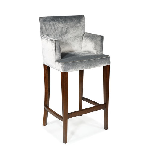 traditional bar chair / upholstered / with footrest / with armrests