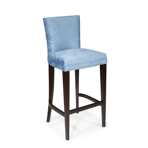 traditional bar chair / upholstered / with footrest / fabric