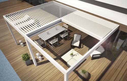 wall-mounted pergola / aluminum / with sliding canopy / sun shade louvers