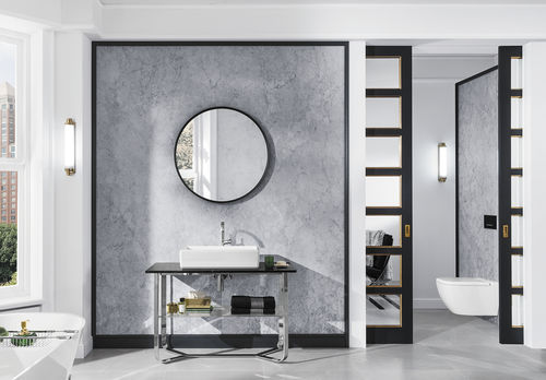 contemporary bathroom / ceramic / marble / stainless steel