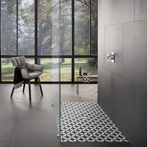 square shower base / ceramic / non-slip / barrier-free