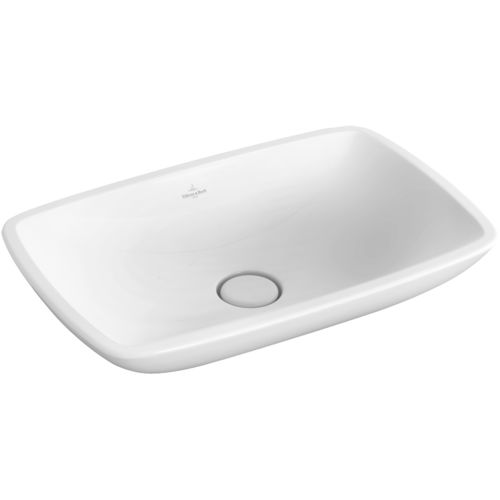 countertop washbasin / rectangular / porcelain / contemporary