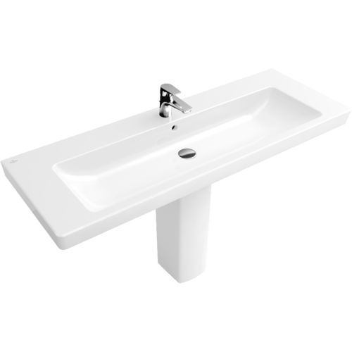 wall-mounted washbasin / rectangular / porcelain / contemporary