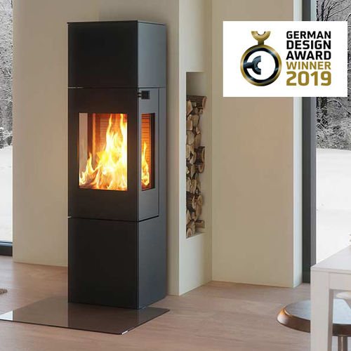 wood heating stove / contemporary / 3-sided / double-sided