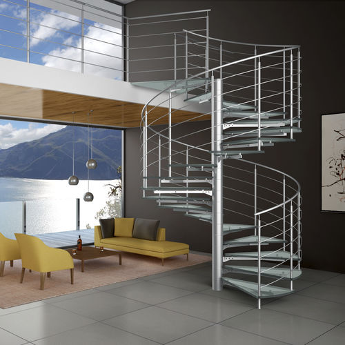 Spiral staircase / glass steps / stainless steel frame / without risers GLASSTREE SPIRAL IAM Design