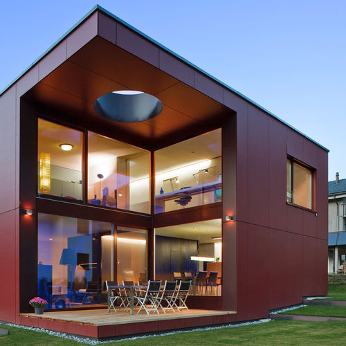 wood fiber cladding / smooth / lacquered / panel