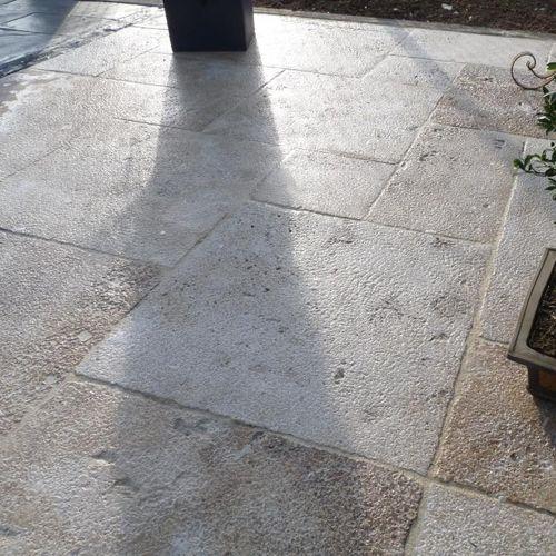 outdoor tile / floor / limestone / aged