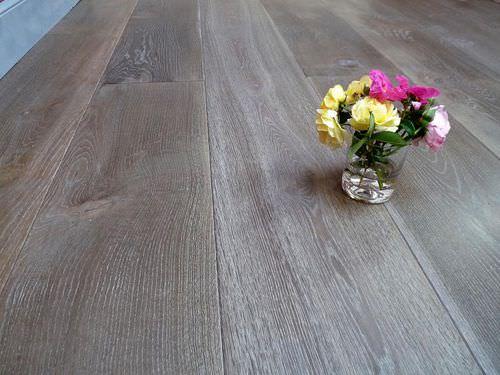 engineered parquet floor / glued / oak / waxed