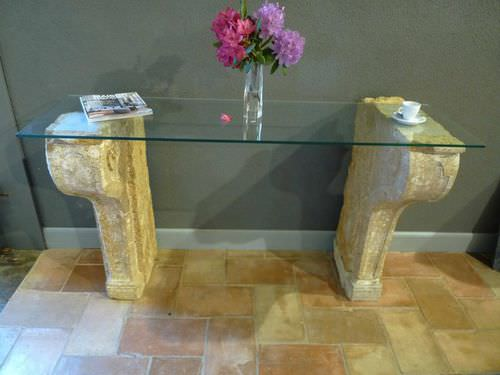 traditional sideboard table / glass / solid wood / rectangular
