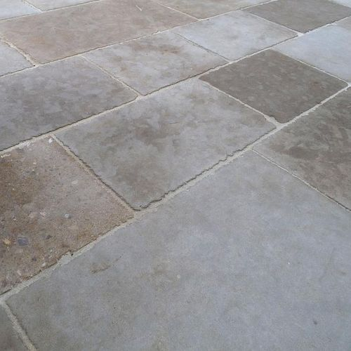 outdoor tile / floor / limestone / patina