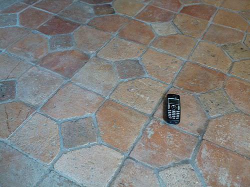 indoor tile / floor / terracotta / aged