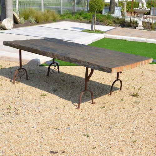 contemporary table / slate / solid wood / rectangular