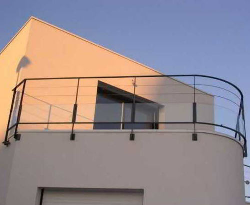glass panel balcony / with bars / steel