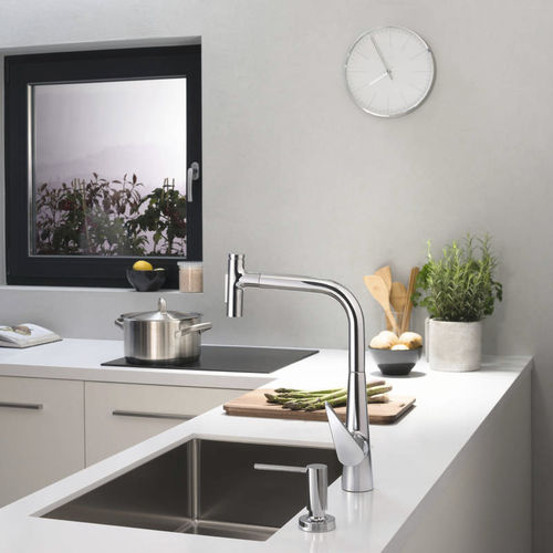 chromed metal mixer tap / kitchen / 1-hole / with pull-out spray
