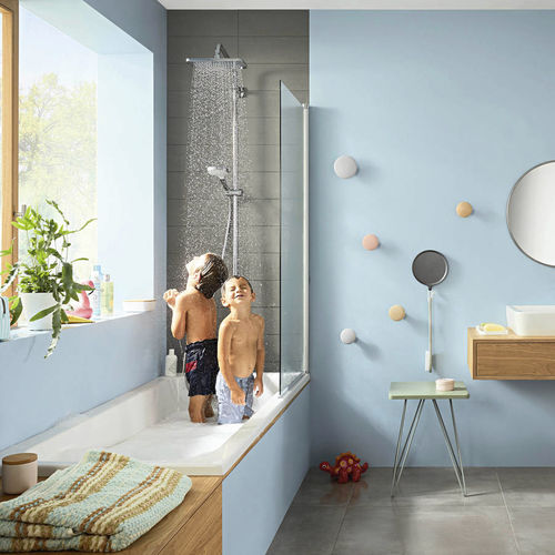 wall-mounted shower set / contemporary / thermostatic / with hand shower