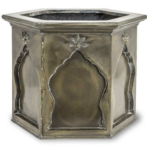 fiberglass planter / resin / hexagonal / traditional