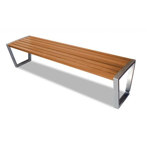 public bench / contemporary / exotic wood / stainless steel