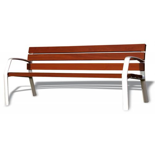 public bench / contemporary / exotic wood / cast iron