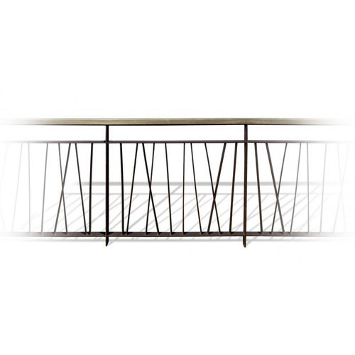 steel railing / wooden / with bars / outdoor