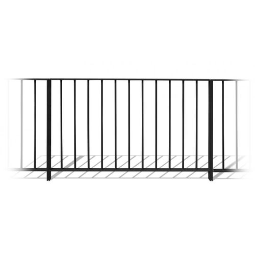 steel railing / with bars / outdoor / for stairs