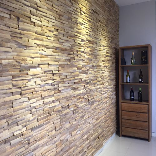 Wall-mounted paneling / teak / 100% recyclable / in reclaimed material TAMBORA TEAK STORY