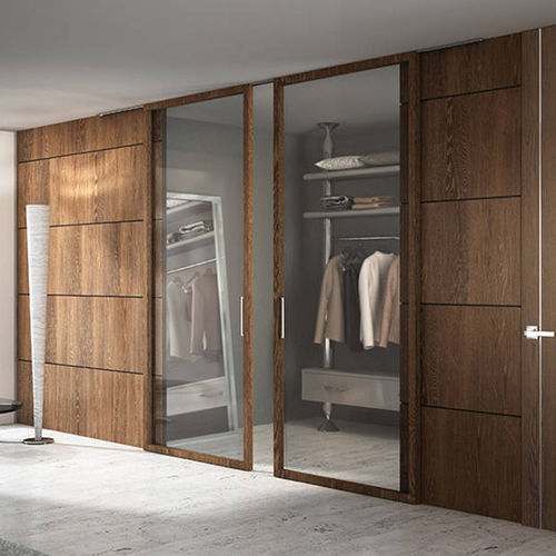 contemporary walk-in wardrobe / oak / glass / with sliding door