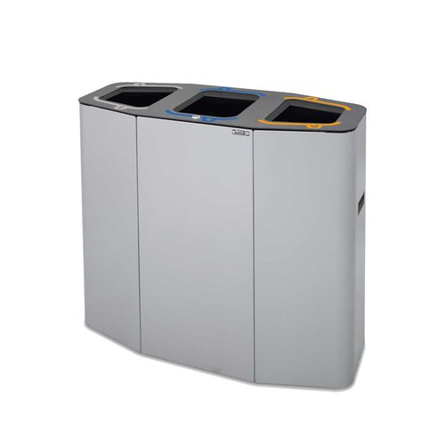 steel trash can / contemporary / with built-in ashtray