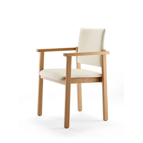 contemporary restaurant chair / with armrests / upholstered / wooden