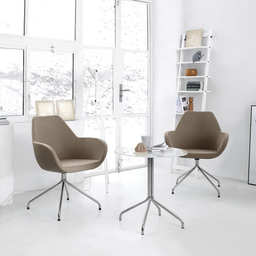 contemporary visitor chair / upholstered / with armrests / metal