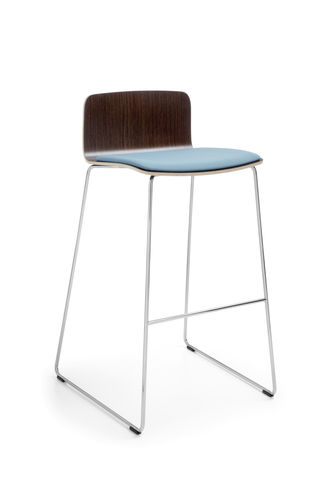contemporary bar stool / chromed metal / plywood / commercial