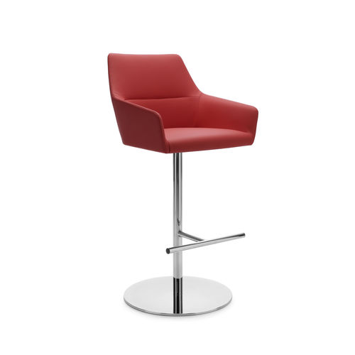 contemporary bar stool / leather / fabric / chromed metal