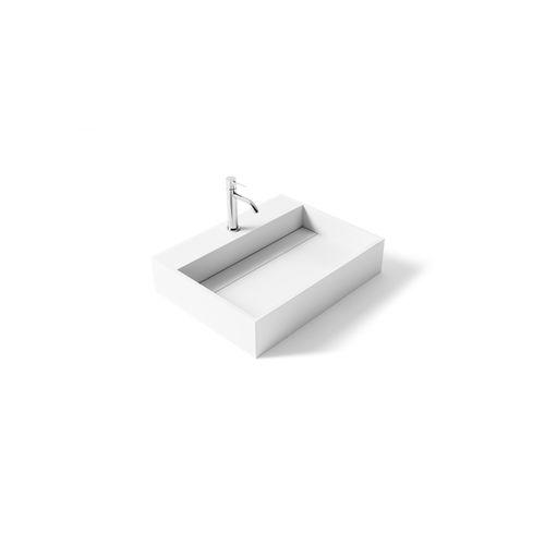 countertop washbasin / rectangular / Solid Surface / stone resin