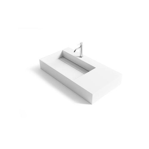 countertop washbasin / rectangular / Solid Surface / resin
