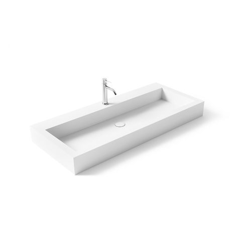 countertop washbasin / rectangular / Solid Surface / resin