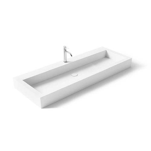 wall-mounted washbasin / rectangular / Solid Surface / resin