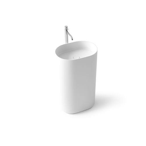 free-standing washbasin / oval / Solid Surface / stone resin