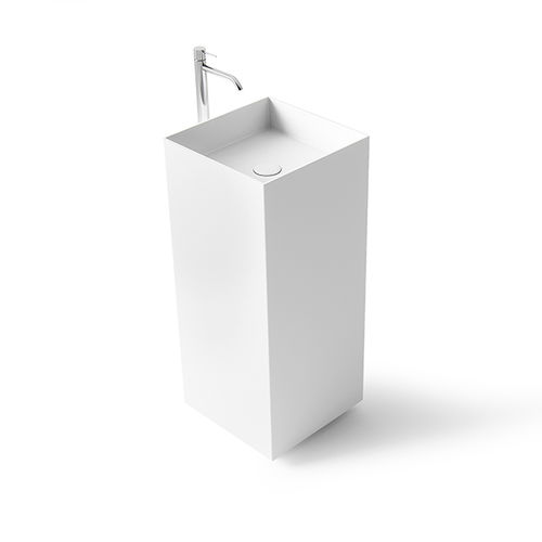 free-standing washbasin / square / Solid Surface / stone resin