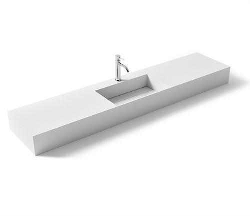 wall-mounted washbasin / rectangular / Solid Surface / stone resin
