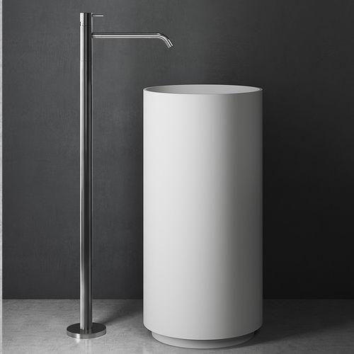 washbasin mixer tap / floor-mounted / stainless steel / bathroom
