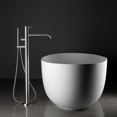 shower mixer tap / for bathtubs / floor-mounted / stainless steel