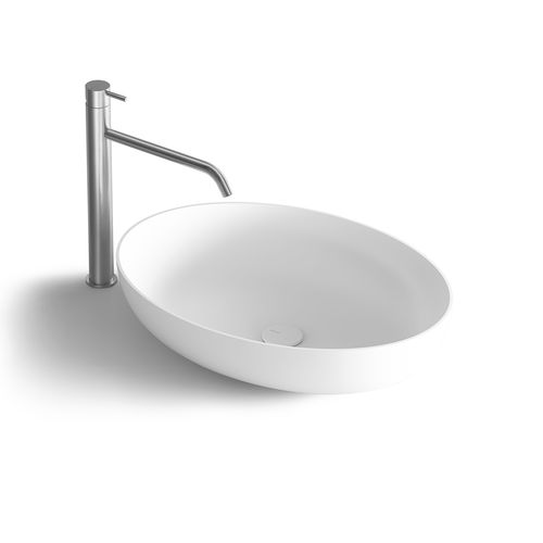 countertop washbasin / oval / Solid Surface / resin