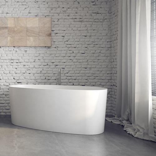 free-standing bathtub / oval / Solid Surface / acrylic resin