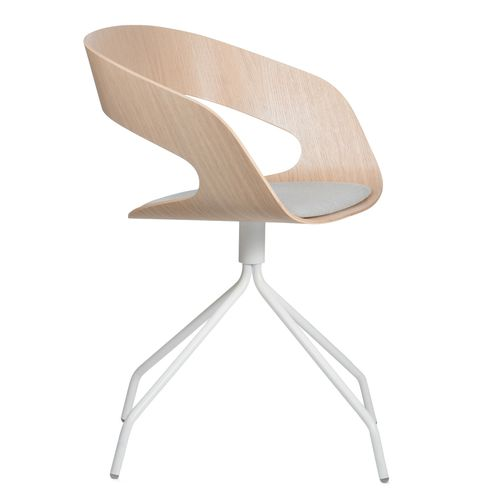 Scandinavian design visitor chair / with armrests / upholstered / swivel CHAT by Jakob Wagner Plycollection