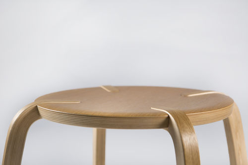 Contemporary stool / plywood / birch / commercial DISCUS by Sven Ivar Dysthe Plycollection