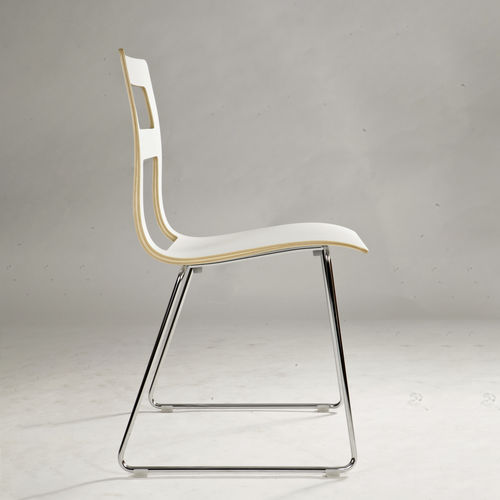 Scandinavian design visitor chair / upholstered / stackable / with removable cushion