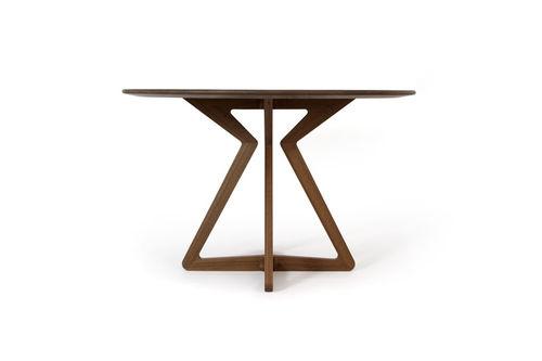 contemporary table / walnut / round