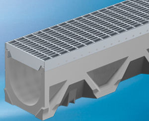 public space drainage channel / fiber-reinforced concrete / with grating / leak-proofing